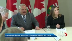 Doug Ford talks trade with Crystia Freeland